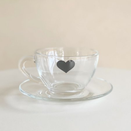 Xícara Chá Coração Preto