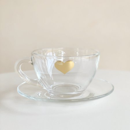 Xícara Chá Coração Dourado