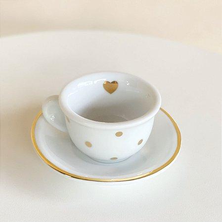 Xícara Café Poá Dourado