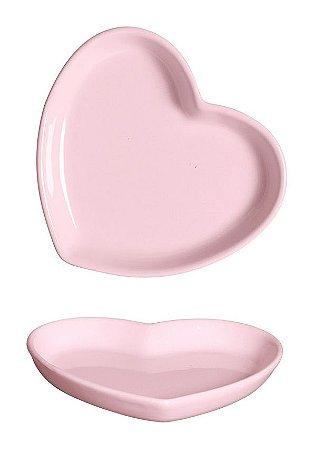 Prato de Cerâmica Coração Rosa - P