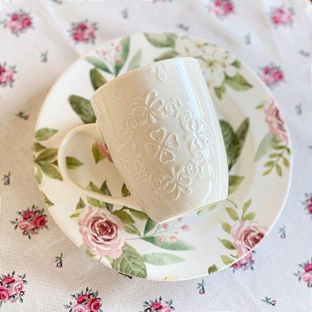 Caneca de Porcelana Butterfly Branca 340ml