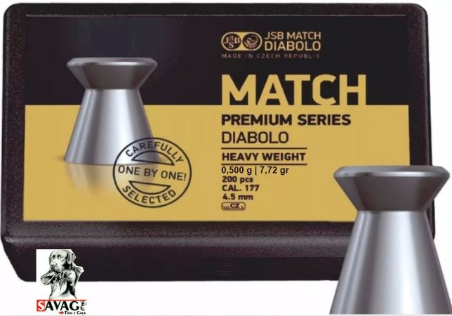 Chumbinho 4.5 Jsb Match Premium 7,72gr + Alvos 12 Alvos de Brinde  200pcs