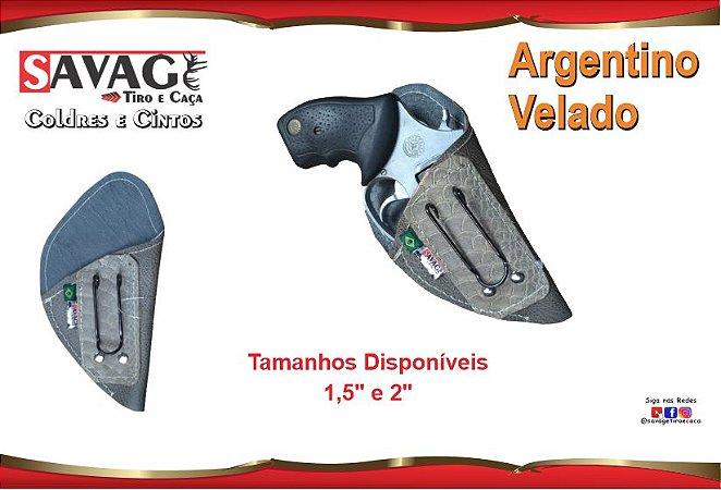 """Coldre Couro P Revolver Snub Cano 1,5"""" e 2"""" - Argentino - Velado"""