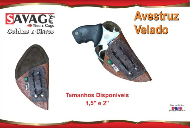 """Coldre Couro P Revolver Snub Cano 1,5"""" e 2"""" - Atanado Avestruz - Velado"""