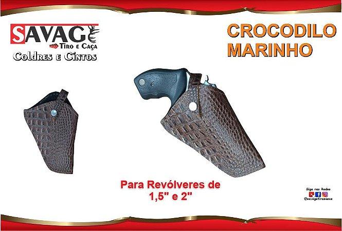 """Coldre Couro P Revólver Snub Cano 1,5 e 2"""" Crocodilo Marinho - Sem Baleiro"""