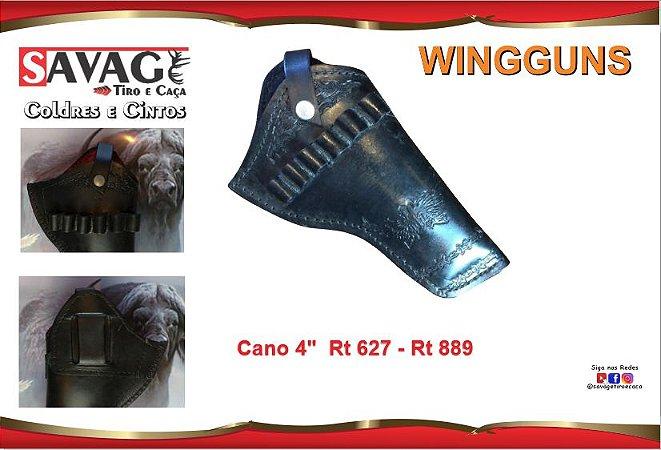 """Coldre Couro P Revolver .38 .357 - Cano de 4"""" - Wingguns - Preto"""