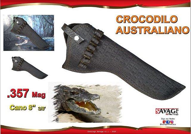 Coldre Couro Crocodilo Australiano Revolver Cano 8 3/8 - .357 Mag