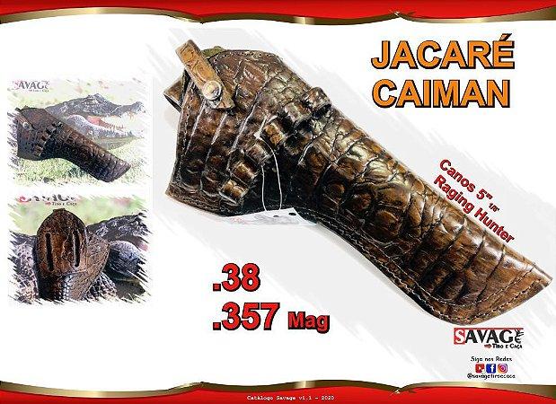 "Coldre Couro P Revólver .38 e .357 - Cano 5.11 ou 5"" 1/8' - Jacaré Caiman - 357h"