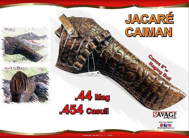 "Coldre Couro P Revólver .44 .454 Casull Cano 8"" 3/8' - Jacaré Caiman"