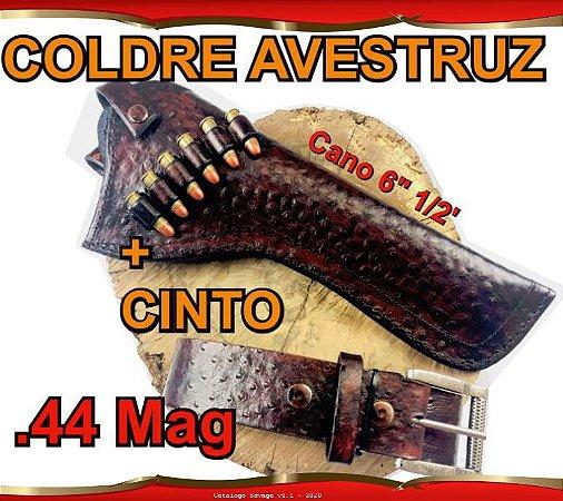 """Coldre + Cinto Couro Avestruz p Revólver .44 Mag Cano 6"""" 1/2'"""