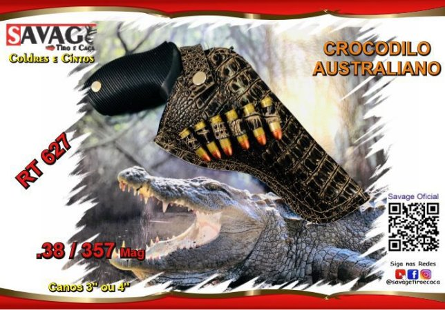 """Coldre Couro P Revólver .38 e .357 - Cano de 3"""" ou 4"""" - Crocodilo Australiano"""