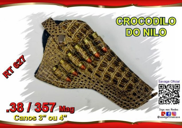 """Coldre Couro P Revólver .38 e .357 - Cano de 4"""" - Crocodilo Do Nilo"""