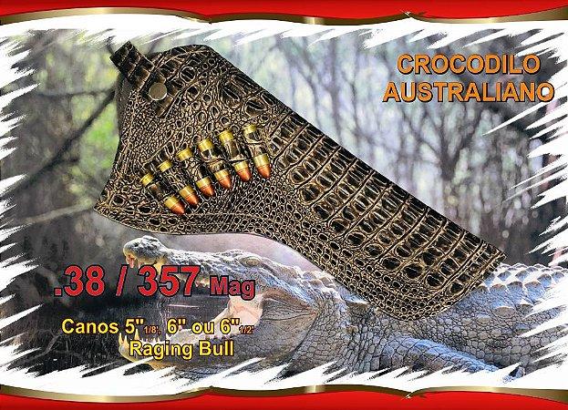 """Coldre Couro P Revólver .38 .357 - Cano 5"""" 1/8 - 6"""" e 6,5"""" - Crocodilo Australiano"""