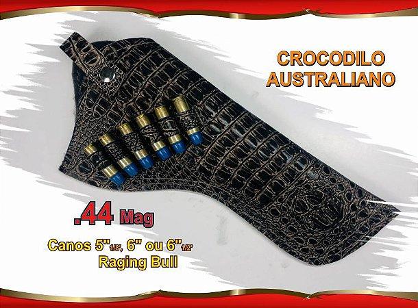 """Coldre Couro P Revólver .44 - Cano 6"""" e 6,5"""" - Crocodilo Australiano"""