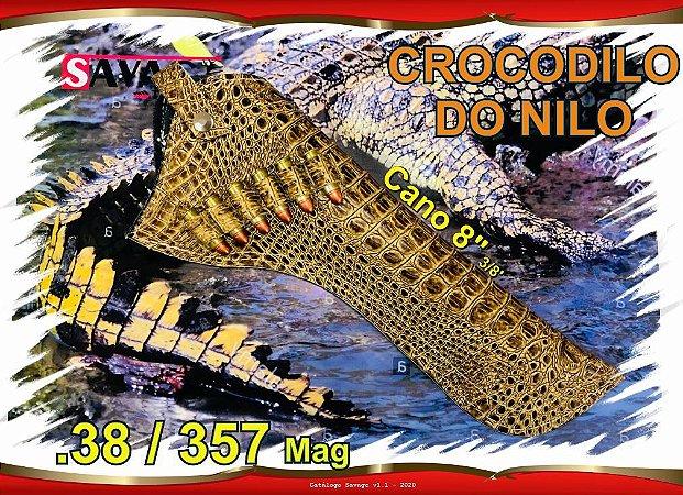 """Coldre Couro P Revólver .38 .357 - Cano 8"""" 3/8' - Crocodilo do Nilo"""
