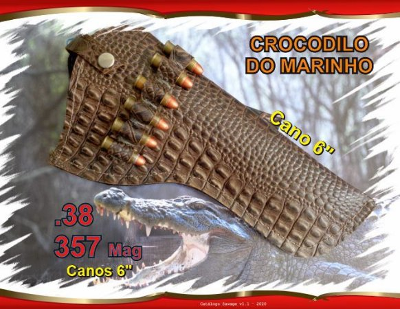 "Coldre Couro P Revólver .38 .357 - Cano 6"" - Crocodilo Marinho"