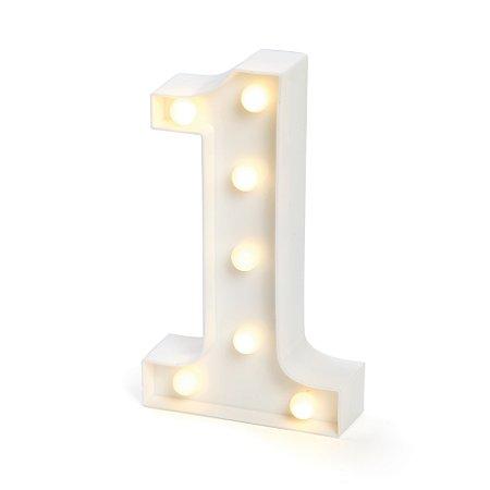 LUMINOSO C/LED BRANCO NUMERO 1 - UN X 1