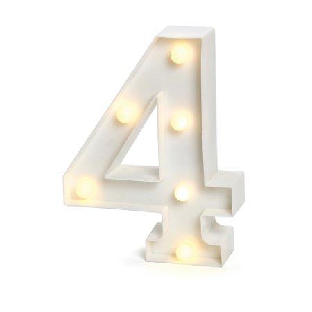 LUMINOSO C/LED BRANCO NUMERO 4 - UN X 1