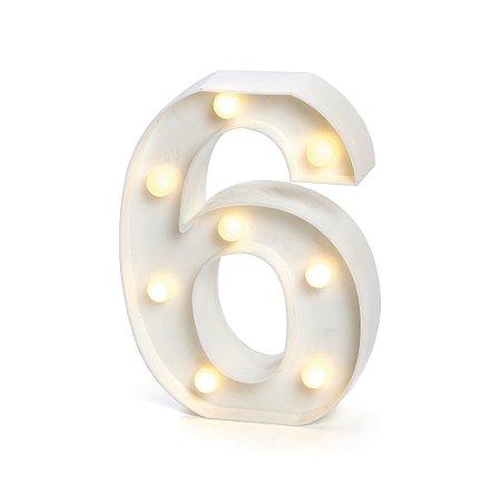 LUMINOSO C/LED BRANCO NUMERO 6 - UN X 1
