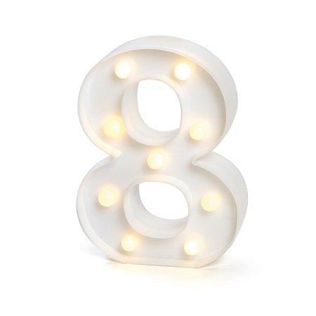 LUMINOSO C/LED BRANCO NUMERO 8 - UN X 1