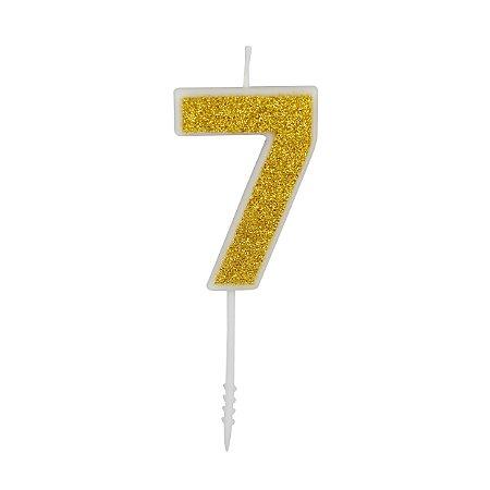VELA PURO GLITTER OURO NUMERO 7 - UN X 1
