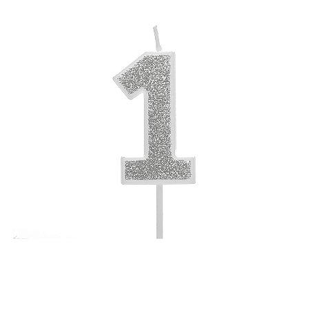 VELA PURO GLITTER PRATA Nº 1 - UN X 1