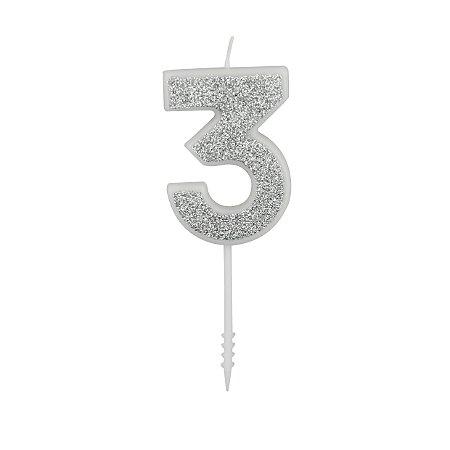 VELA PURO GLITTER PRATA Nº 3 - UN X 1
