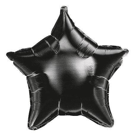 BALAO MET ESTRELA 18 45CM PRETO - UN X 1