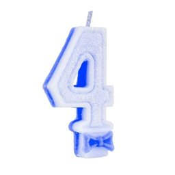 VELA SUPER C/GLITTER AZUL N 4 - UN X 1