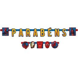 FAIXA PARABENS C/1 UND HOMEM ARANHA - UN X 1