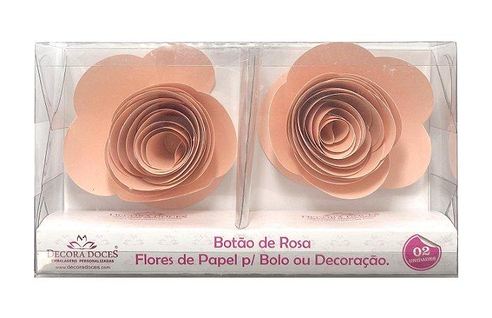 FLOR PAPEL BOTAO DE ROSA C/2 CORAL - UN X 1