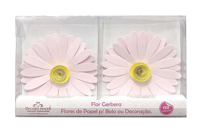 FLOR PAPEL GERBERA C/2 ROSA CLARO - UN X 1
