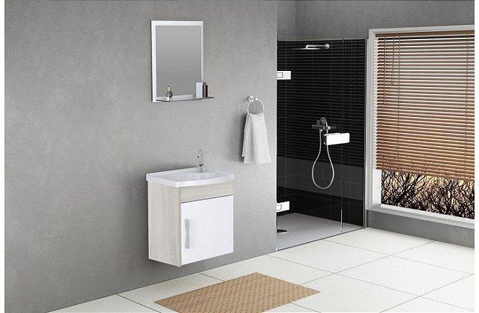 Kit Turim Susp 1 Porta 39 cm + Pia + Espelho