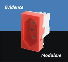 Módulo Tomada 2P+T 20A/250V - Vermelha para Uso Específico - Modulare / Evidence
