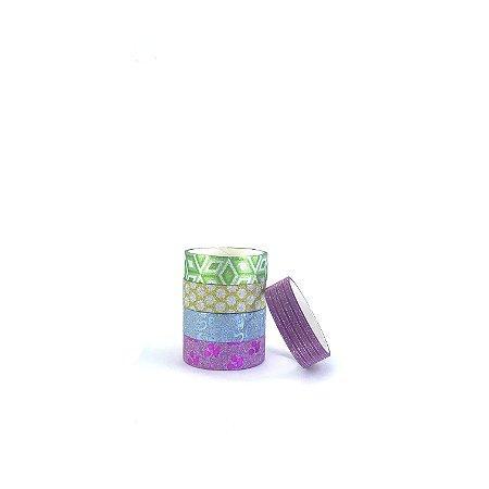 Fitas Adesivas Decorativas Glitter c/ estampa - Washi Tape