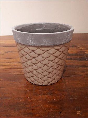 Cachepot Cerâmica Escamas bg 14x13cm