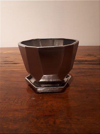 Vaso Cerâmica Sexta. c/ prato P pta 11x12cm
