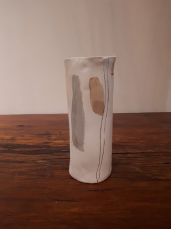 Vaso Porcelana Encontros P creme 20x9cm