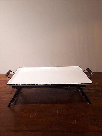 Bandeja para Cama ferro esmaltado bco/pto 8x13x23cm