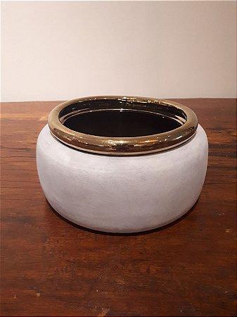 Cachepot Cerâmica M cz/dour 13x24cm