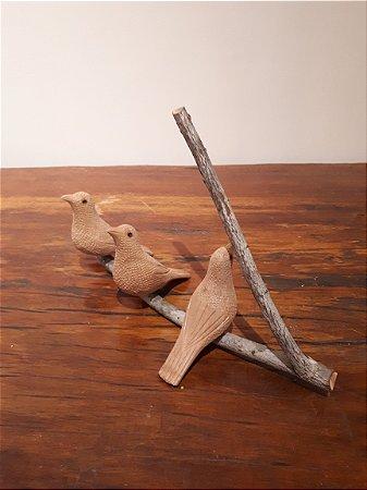 Galhos c/3 Pássaro nat 34x22cm