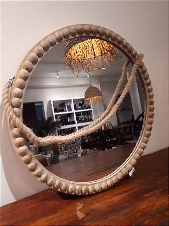 Espelho Madeira redondo c/ Alça 65x65cm