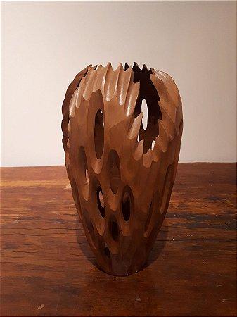 Vaso madeira Escupido P marr 31x19cm