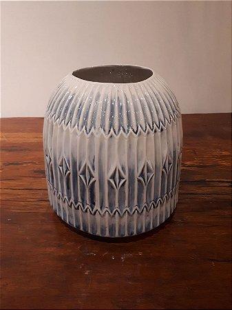 Vaso Cerâmica Tulum G az/crem 24x24cm