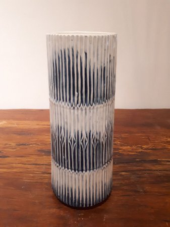 Vaso Cerâmica Tulum M az/crem 15x36cm