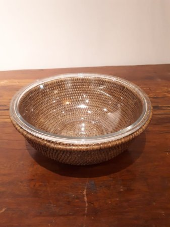 Bowl vidro sup. rattan Maya G 31x12cm