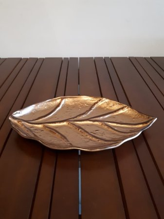 Centro Mesa Folha vidro brz 40x25cm