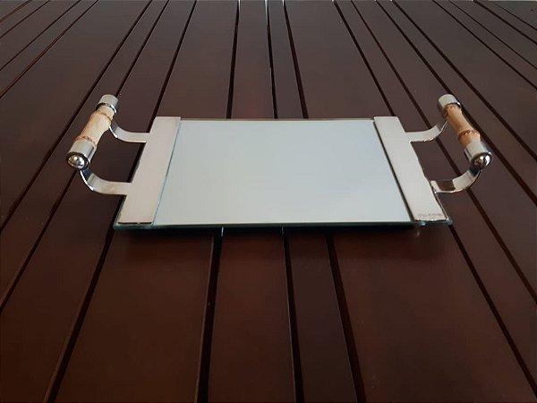 Bandeja para Lavabo ou copo Prata Espelho e alça Bamboo 25x16cm