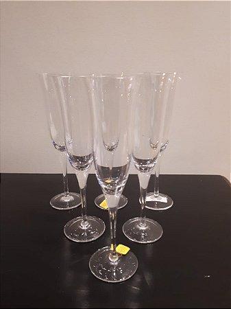 Jogo Taça Cristal Champanhe liso 6pçs