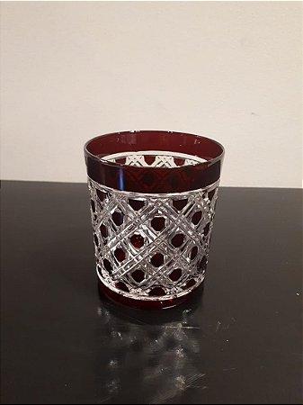 Copo Cristal Trabalho vermelho 9x10cm